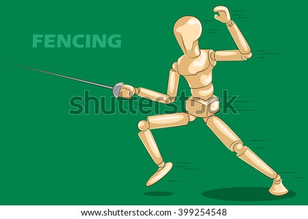 Concept of Fencing with wooden human mannequin. Vector illustration