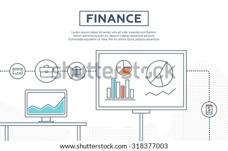 Concept of finance, crowd funding, growing business profit, building effective financial strategy vector