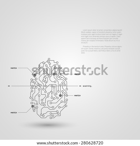 Concept of fingerprint technology identification. Vector illustration. - stock vector