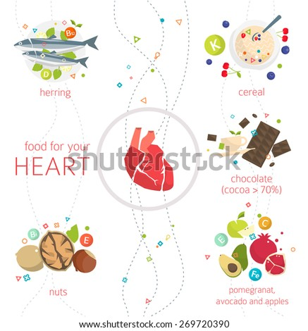Concept of food and vitamins, which are healthy for your heart / vector illustration / flat style - stock vector