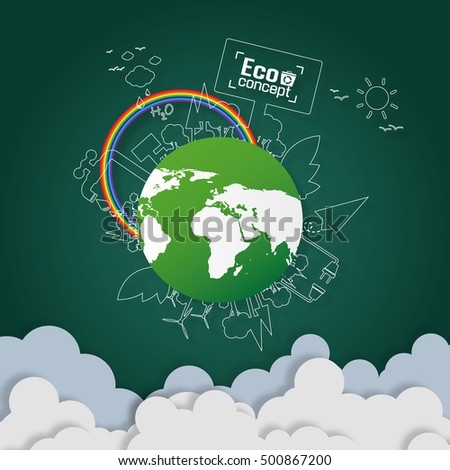 Concept of green eco earth. paper art design