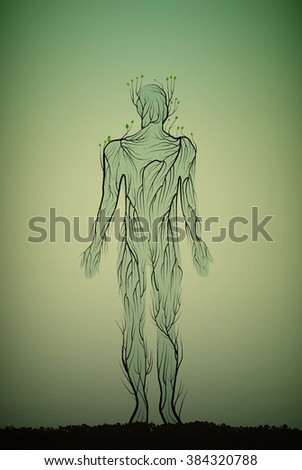 concept of green life, man silhouette  build with small branches and  leaves and growing in soil, garden sculpture, vector,