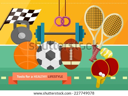 Concept of healthy lifestyle and sport with sport equipment for track and field, tennis, football and volleyball - stock vector
