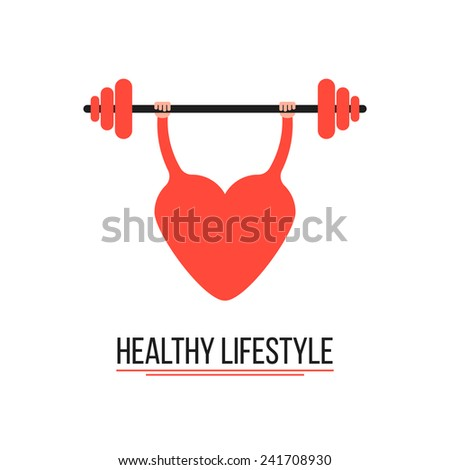 concept of healthy lifestyle with training heart. conceptual of disease prevention, workout and body care. isolated on white background. flat style trendy modern logotype design vector illustration - stock vector
