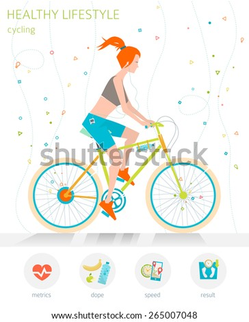 Concept of healthy lifestyle. Young woman is riding a bicycle. Cycling  - stock vector