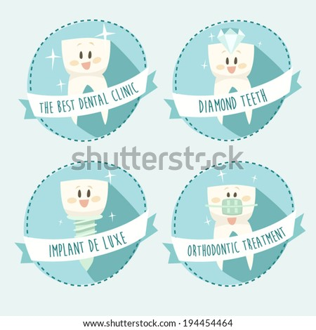 concept of healthy teeth, icon set, vector illustration, flat design - stock vector