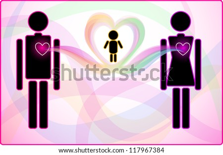 Concept of heart connection between man and woman supporting their child - stock vector