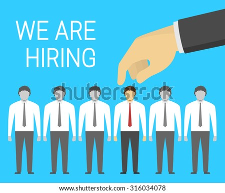 Concept of hiring in flat style, hand is picking the best suited employee - stock vector