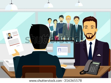 Concept of hiring recruiting interview. Look resume the applicant employer. Candidate and recruitment, hire and interviewer, decision and examination illustration - stock vector