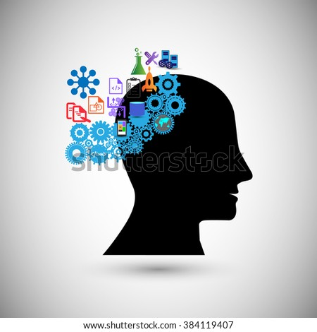 Concept of human intelligence,Brain storming, gain knowledge, Also Illustrates concept of human thinking, creativity, inspiration, idea , imagination, innovation ,discovery and think outside the box