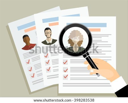 Concept of human resources management, professional staff research - stock vector