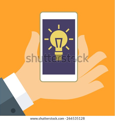 Concept of idea. The hand holding the Smartphone with a light bulb. Flat vector illustration - stock vector