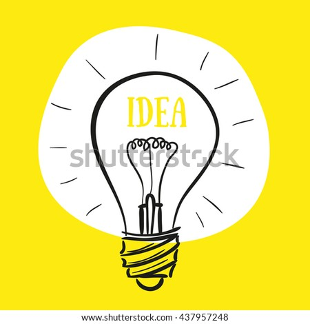 Concept of idea, vector lamp on yellow background