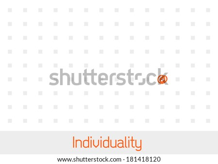 Concept of Individuality - one outstanding point in a field of grey squares - stock vector