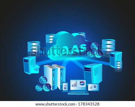 Concept of Infrastructure as a Service in Cloud Computing technology - stock vector