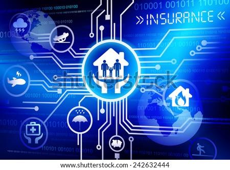 Concept of insurance in cloud computing format vector - stock vector
