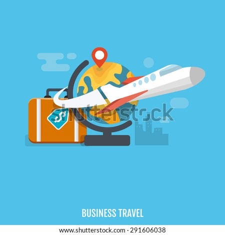 Concept of international business travel and tourism. Vector Illustration. Flat design. - stock vector