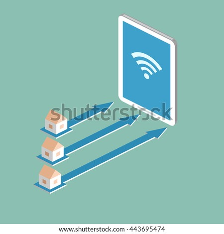 Concept of internet network. Smart city. Illustration of communication with houses, arrows and mobile phone. Isometric.
