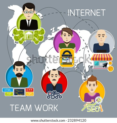 Concept of internet project business team of freelancers with investor, programmer, web designer, system administrator, link manager with interaction lines - stock vector