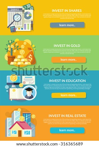 Concept Investment Education Gold Property Finance Stock Vector