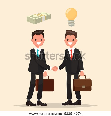 Concept of investment in the business. Two businessmen shake hands, signing an agreement. Vector illustration in a flat style