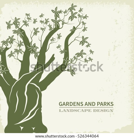 Concept of landscape design.Baobab tree silhouette on kraft paper background.Organic Sign,logo.