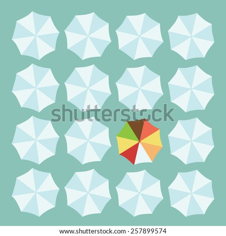 Concept of leader with white and a colorful umbrella - stock vector