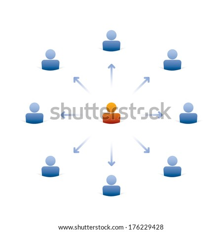 concept of leadership, group of people icons with leader inside - stock vector