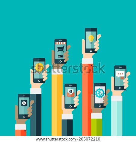 Concept of mobile app in flat design? - stock vector