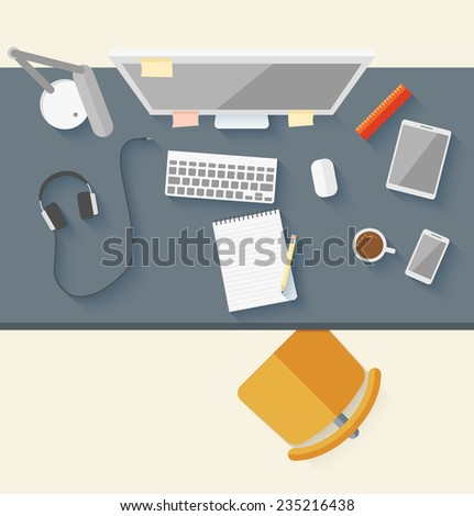 Concept of modern business workspace in flat design. Vector illustration - stock vector