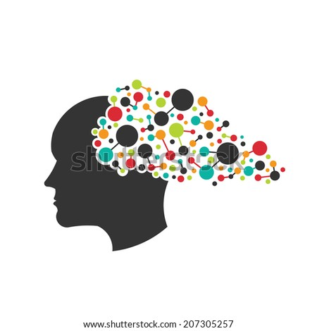 Concept of networking brain. Vector icon