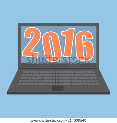 Concept of  New Year 2016 Text Design cartoon on laptop notebook, Vector Illustration EPS 10. - stock vector