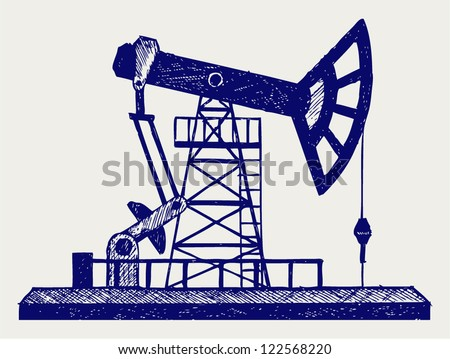 Concept of oil industry. Doodle style - stock vector