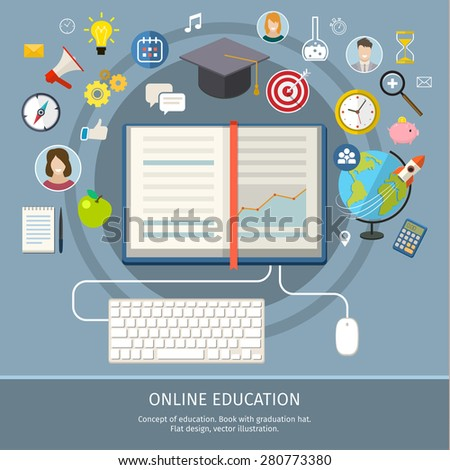 Concept of online education. E-learning science with symbol of book like computer. Flat design, vector illustration - stock vector