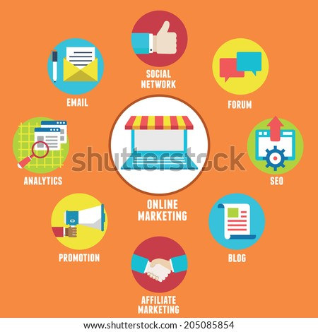 Concept of Online Marketing. Components and strategy - vector illustration - stock vector