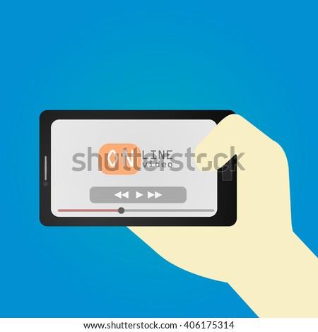 Concept of online video serfing. Hand holding smartphone. Flat design, vector illustration. - stock vector