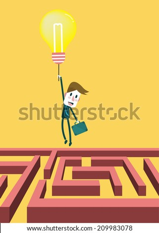 Concept of overcome obstacles. businessman flying with idea bulb balloon. vector illustration - stock vector