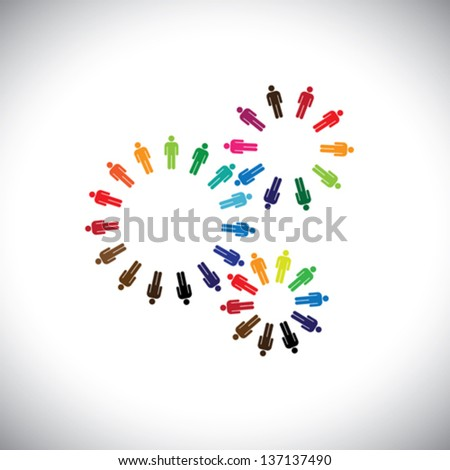 Concept of people as cogwheels representing communities & teams. This colorful vector logo template can represent teams interacting and collaborating with each other & also global social communities - stock vector