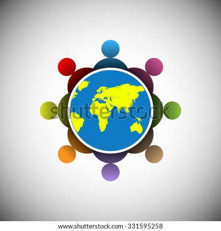 concept of people connecting worldwide, this illustration also used to represent people gathering,society, community, kids playing, teamwork, globalization, social network, unity etc. - stock vector