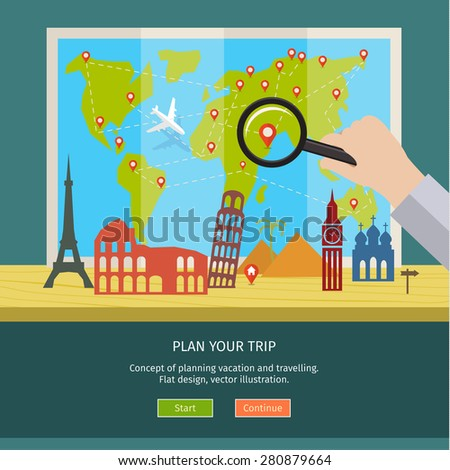 Concept of planning vacation. Colorful travel vector flat banner for your business, websites etc. - stock vector