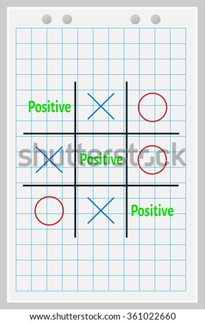 Concept of positive. Tic Tac Toe game with the word positive.