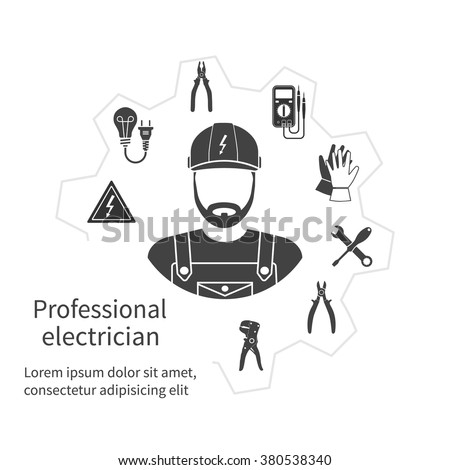 Concept of profession electrician. Repair and maintenance of electricity. Electricity service. Electricians tools, equipment. Banner, template, logo, background. Vector. Electrician occupation. - stock vector