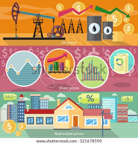 Concept of real estate price of oil and shares. Business graph, finance market, chart and diagram, industry petroleum, arrow financial, building residential house illustration - stock vector