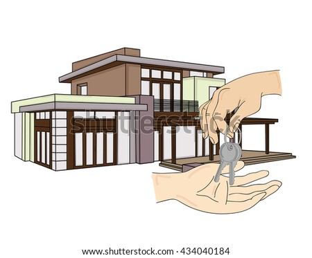 concept of real estate sales. man gets the keys to the house. vector illustration. - stock vector