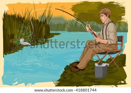 Concept of retro man fishing in river. Vector illustration - stock vector