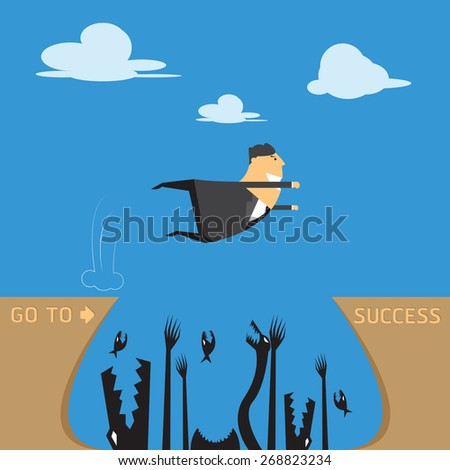 Concept of risk in business with businessman jump across the risk and obstacles to success - stock vector