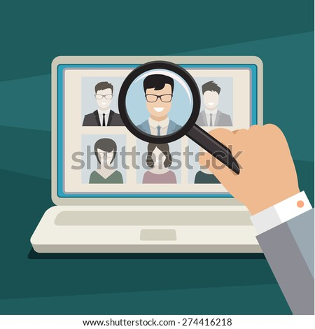 Concept of searching for professional stuff, head hunter job, employment issue, human resources management or analyzing personnel resume. Flat design - stock vector