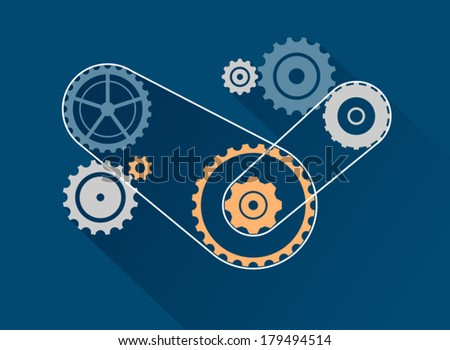 Concept of SEO optimization & business development. Set of vector gear wheels.  - stock vector