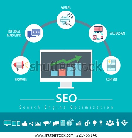 Concept of SEO word combined from elements and icons which symbolized a success internet searching optimization process. Flat modern design infographic. Vector illustration - stock vector