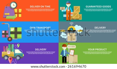 Concept of services in delivery goods. Online shopping and worldwide shipping. Can be used for web banners, marketing and promotional materials, presentation templates - stock vector